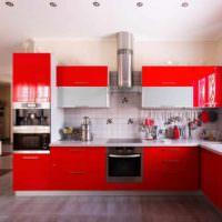 вариант яркого интерьера потолка кухни фото