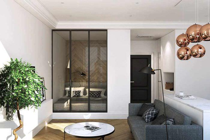 вариант необычного дизайна гостиной спальни 20 метров