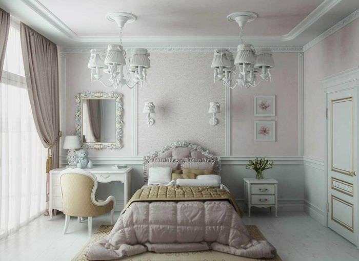 Оформление спальни молдингами фото
