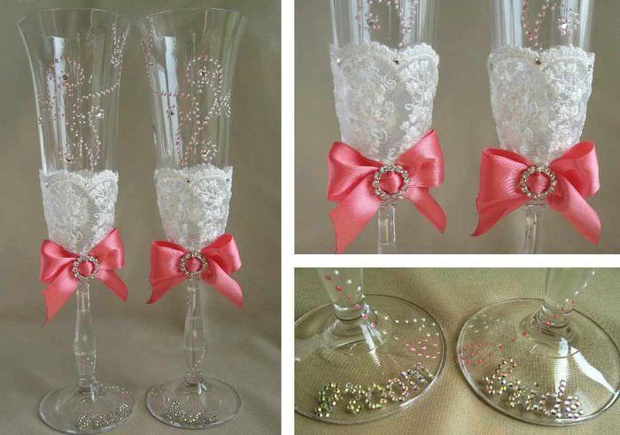 пример необычного оформления дизайна свадебных бокалов