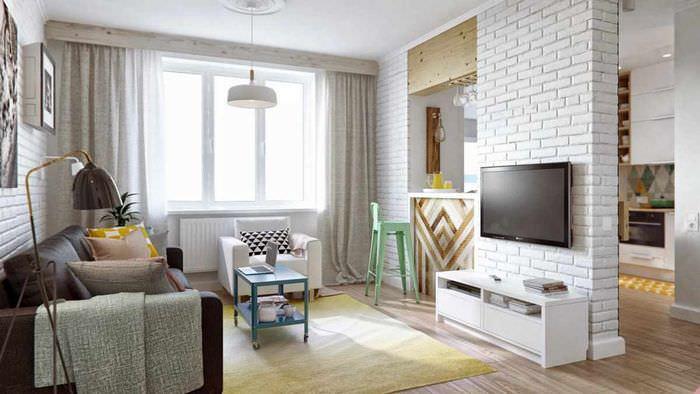 идея использования перегородки в интерьере комнаты