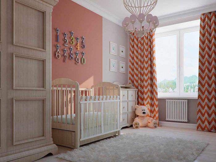 вариант сочетания красивого персикового цвета в дизайне квартиры