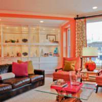 вариант сочетания светлого персикового цвета в интерьере квартиры фото