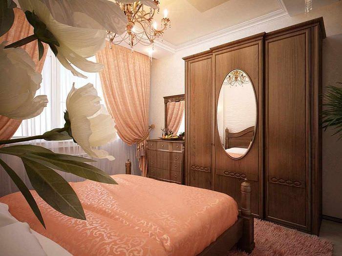 пример сочетания яркого персикового цвета в стиле квартиры