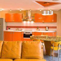 вариант сочетания необычного персикового цвета в интерьере квартиры картинка