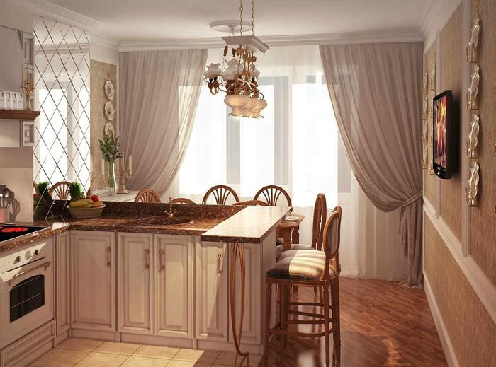 пример яркого стиля окна на кухне
