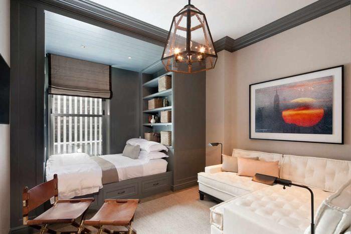 пример красивого дизайна гостиной 20 метров