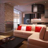 вариант светлого интерьера потолка кухни картинка