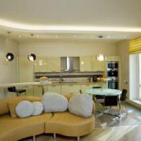 пример светлого стиля потолка на кухне фото