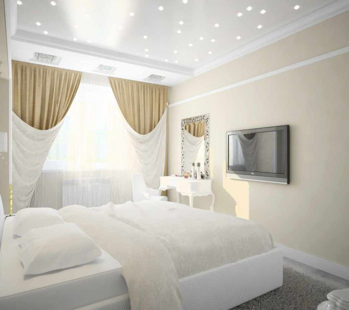вариант светлого проекта стиля спальни