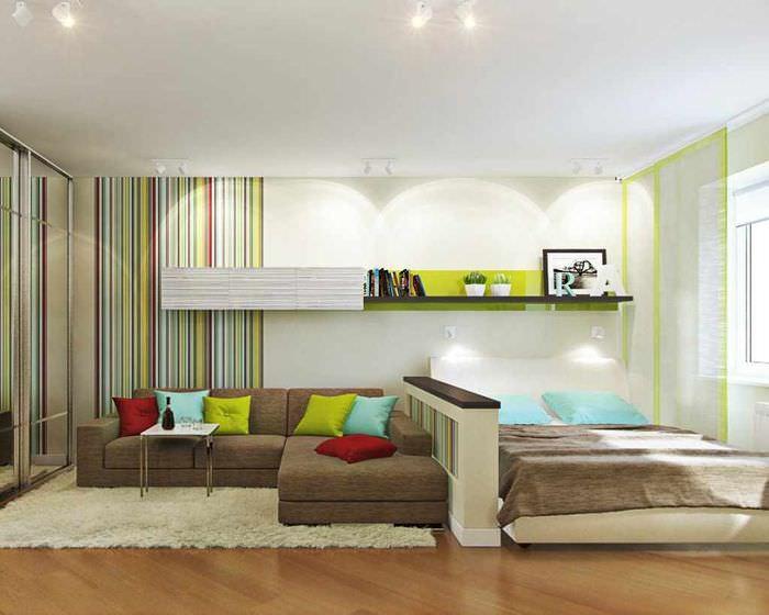 пример красивого интерьера гостиной спальни 20 метров