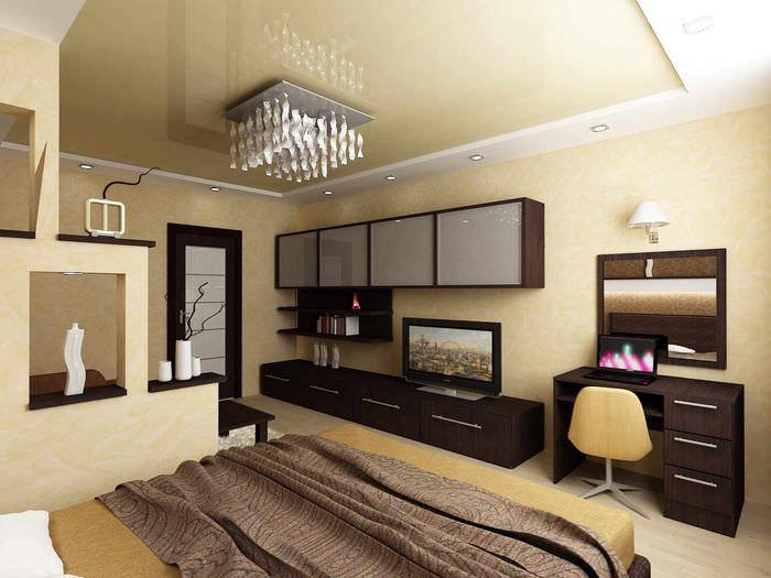 пример красивого дизайна спальни 20 метров