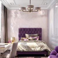 пример необычного дизайна спальной комнаты картинка
