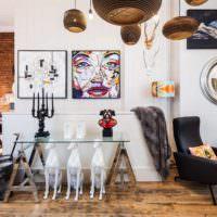пример светлого украшения дизайна квартиры картинка