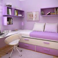 вариант светлого стиля спальни для девочки картинка