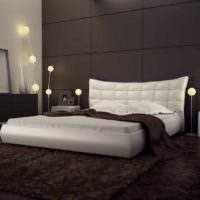 пример необычного дизайна изголовья кровати фото
