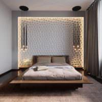 пример светлого дизайна изголовья кровати фото