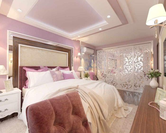 вариант светлого интерьера спальни