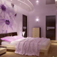 вариант светлого интерьера спальной комнаты фото
