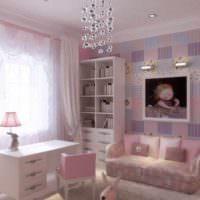 вариант яркого дизайна спальни для девочки картинка
