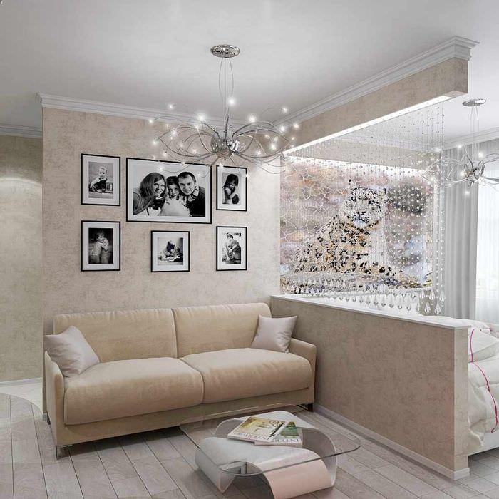 пример необычного дизайна гостиной спальни 20 метров