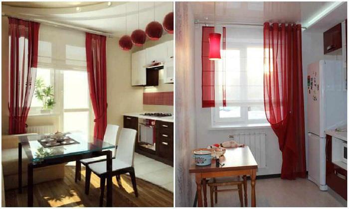 пример необычного интерьера окна на кухне