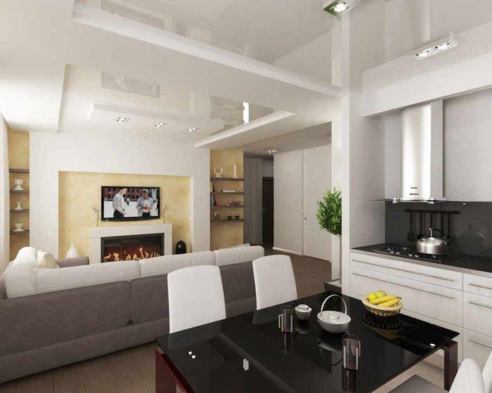вариант красивого дизайна потолка на кухне