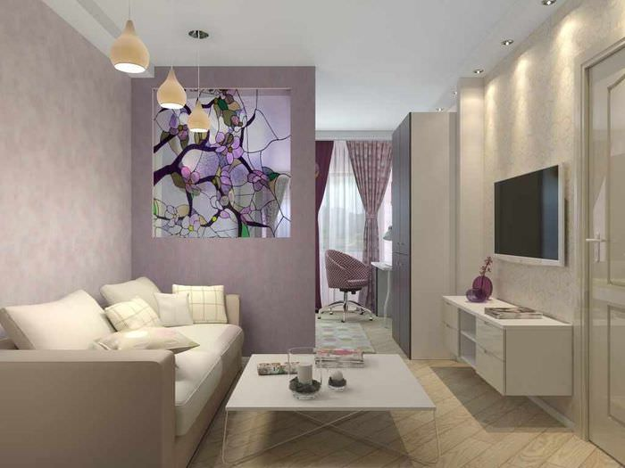 пример яркого стиля гостиной