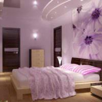 пример светлого украшения стиля стен в спальне картинка
