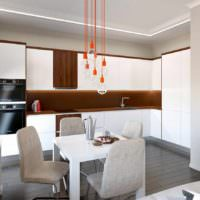пример светлого проекта интерьера столовой картинка