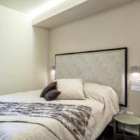 пример светлого проекта интерьера спальной комнаты фото