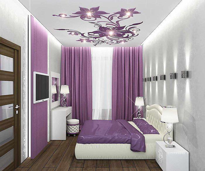 вариант яркого проекта интерьера спальной комнаты