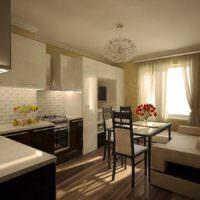 пример светлого проекта стиля кухни фото