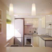 вариант необычного интерьера потолка кухни картинка