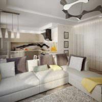 пример яркого интерьера проходной гостиной картинка