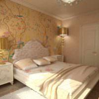 пример необычного оформления декора стен в спальне картинка