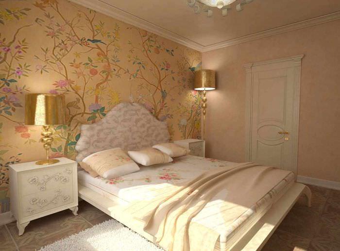 оформление стен в классической спальне фото против голубого
