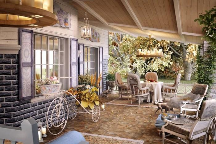 Открытая веранда на даче в стиле прованс