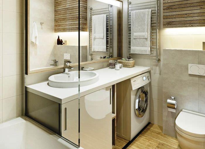 Встроенная стиральная машина в совмещенном санузле