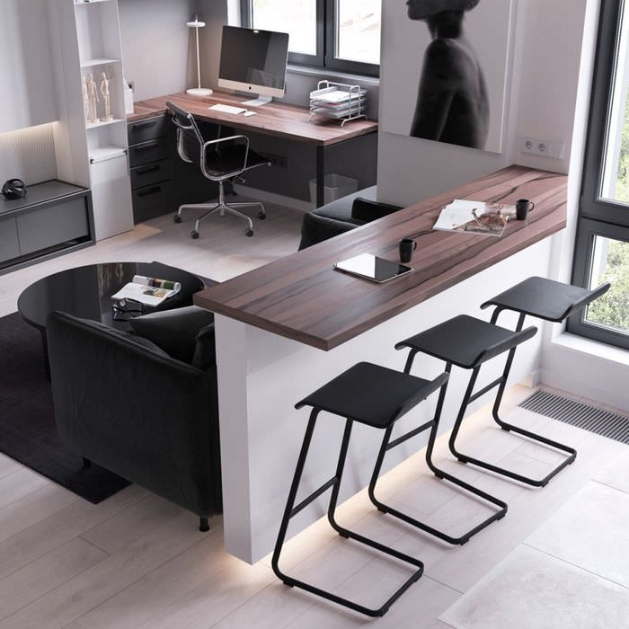 Барная стойка и рабочее место в однокомнатной квартире 37 кв метров