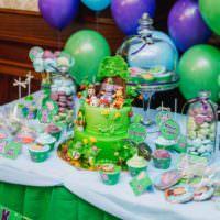 Цветные гелиевые шары в оформлении праздничного стола для дня рождения ребенка