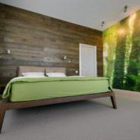 Сочетание зелоного и коричневого цветов в спальне