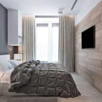 Серые и коричневые тона в дизайне спальни
