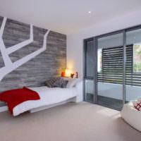 Спальня в стиле минимализма в современном загородном доме
