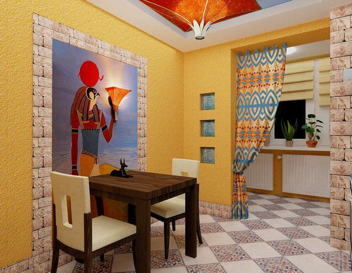 Панно из декоративной штукатурки на стене кухни