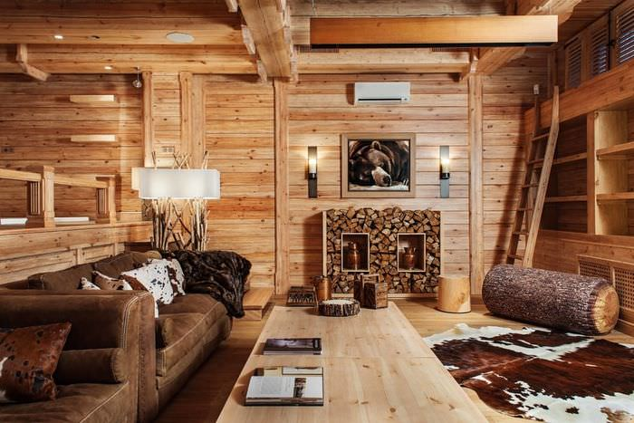 Декоративная отделка деревом в дизайне жилой комнаты
