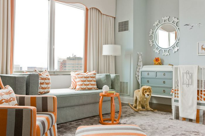 Дизайн детской комнаты с оранжевыми акцентами