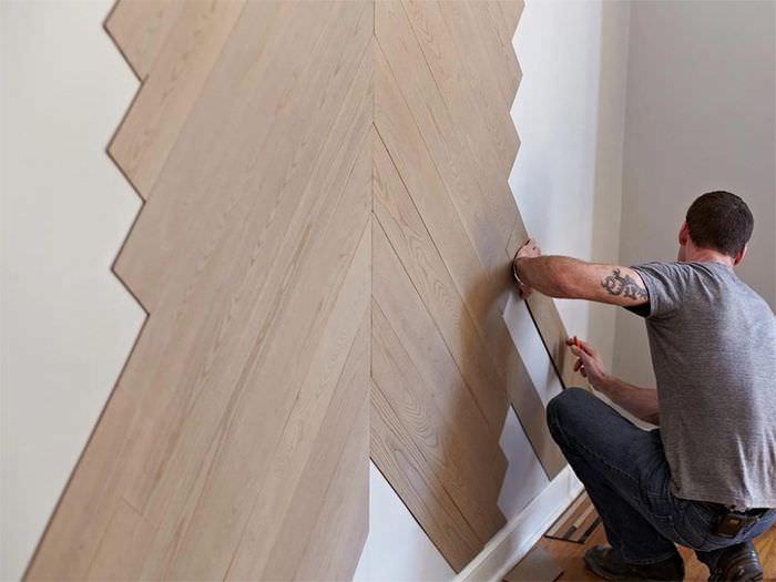 Диагональная укладка ламината на стену своими руками