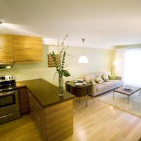 Деревянный пол на кухне жилого дома