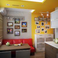 Желтый цвет в интерьере кухни-гостиной